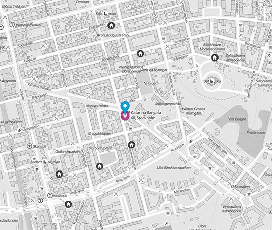 karta över historiska hems kontor på söder